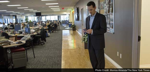 Aaron Kushner, chief executive of Freedom Communications, at the Orange County Register
