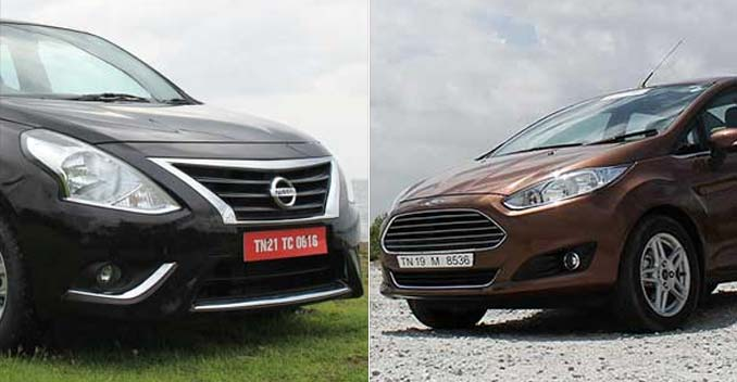 comparison new nissan sunny vs new ford fiesta ndtv. Black Bedroom Furniture Sets. Home Design Ideas