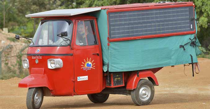 Naveen Rabelli's auto rickshaw is powered entirely by electricity and solar power.