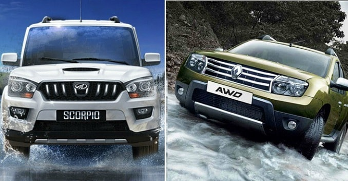 comparison renault duster awd vs 2015 mahindra scorpio ndtv carandbike. Black Bedroom Furniture Sets. Home Design Ideas