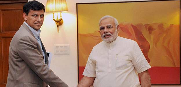 A file photo of PM Modi with RBI Governor Raghuram Rajan