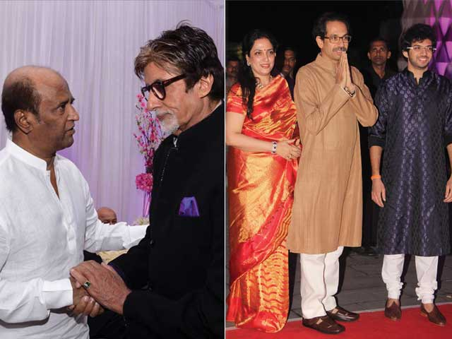 At the Sinha Reception: Rajinikanth, Bachchans, Thackerays