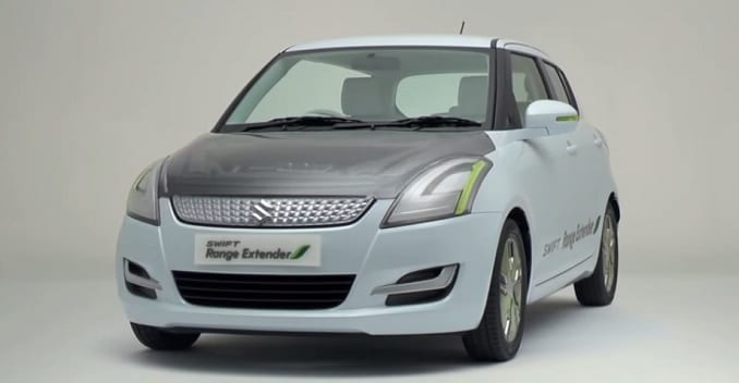 maruti swift range extender hybrid showcased in delhi