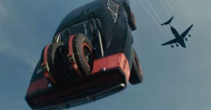 Going Fast in a Car Cars of Furious 7 go Skydiving