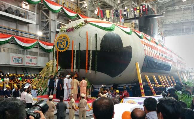 Scorpene Submarine, Built at Mumbai Docks, Launched Into Water