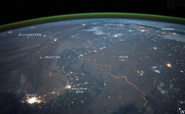 Border Fence - India's border fence at night