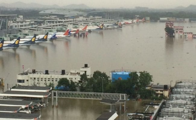 Chennai Airport Shuts Down After Rain 50 Trains Cancelled