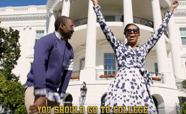 Striding out of the White House in slow motion, sporting oversized sunglasses, Michelle Obama lays down a rap track aimed at raising the star power of math majors and engineering students.
