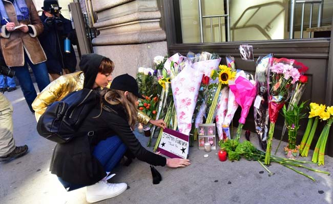 Flowers, Tears Outside David Bowie's New York Home