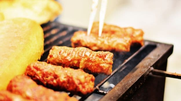 Potato in mushroom kebabs