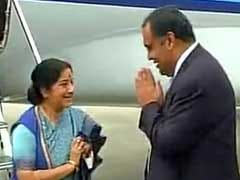 Sushma Swaraj Arrives In Sri Lanka On 2-Day Visit