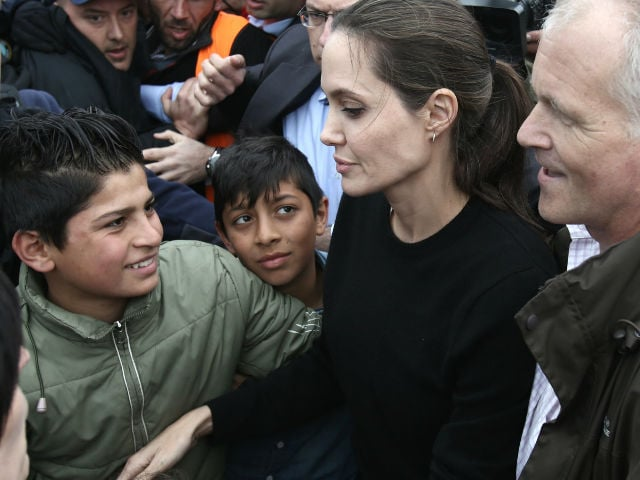 Angelina Jolie Photographed At The Refugee Camp In Greece Image Courtesy Afp