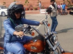 Scene Stealer. On Women's Day, Ranjeet Ranjan Rides Harley To Parliament
