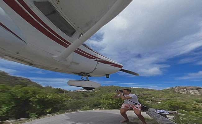 360-Degree Video: Man Nearly Hit On Head By Plane Landing Very Low