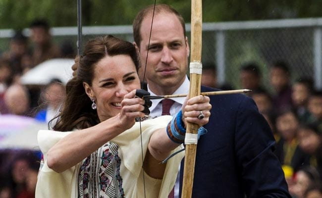 Britain's Prince William And Kate Try Archery In Bhutan