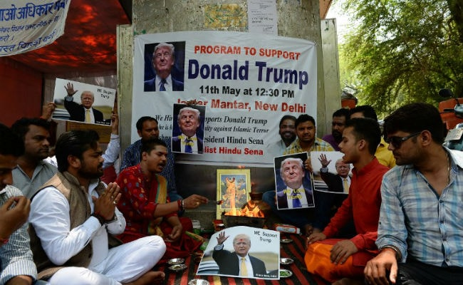 Hindu Sena organised a havan in Jantar Mantar to pray for Trump's victory in the upcoming elections