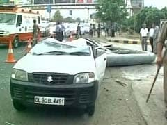 1 Killed As Signboard Collapses, Crushes Car, Motorcycle In Noida