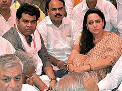Villagers Stage Protest In Front Of Hema Malini's Office In Mathura