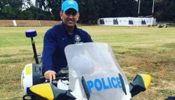 MS Dhoni Rides the Kawasaki Concours 14 Police Motorcycle in Zimbabwe