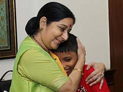 Sushma Swaraj Posts Pic With Sonu, 12, Brought Home After 6 Years