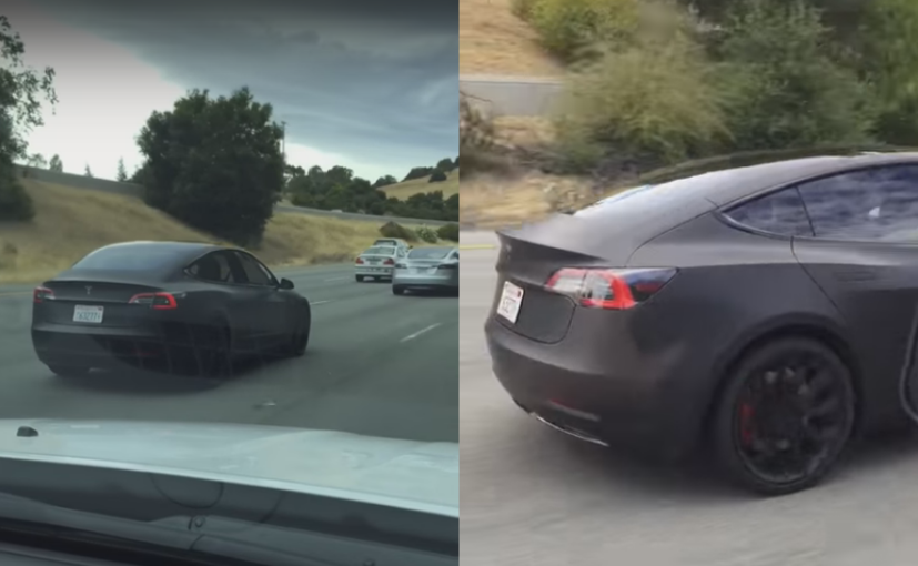 tesla model 3 spotted testing again with new alloy wheels   ndtv