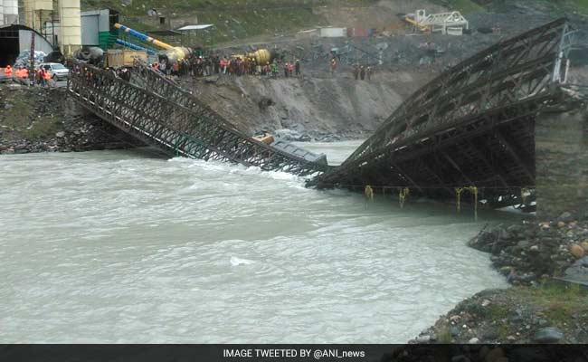 Bridge Near Rohtang Tunnel Project Collapses Due To Heavy Current In River