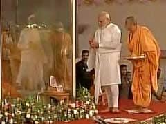 PM Modi Pays Tribute To Swaminarayan's Pramukh Swami In Gujarat