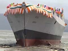 Navy's Most Advanced Guided Missile Destroyer 'Mormugao' Launched In Mumbai