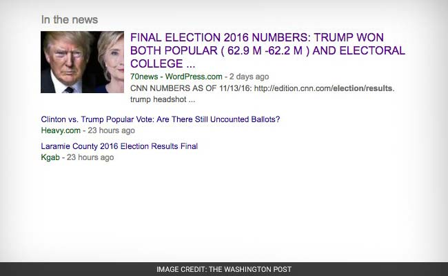 Google highlighting inaccurate story about election results