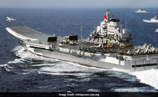 China's First Aircraft Carrier Liaoning Holds Drills In South China Sea