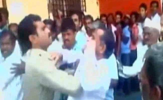 Caught On Camera: Cop Slaps Ex-Serviceman In Bank Queue In Karnataka
