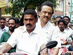 DMK Leader Stalin Rides On Bike To Assess Cyclone Vardah Damage