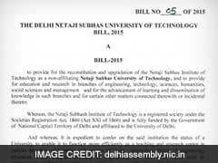 Delhi LG Returns Netaji  Subhash Institute of Technology Bill