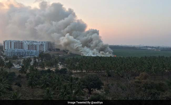 Fire breaks out in the middle of Bellandur Lake