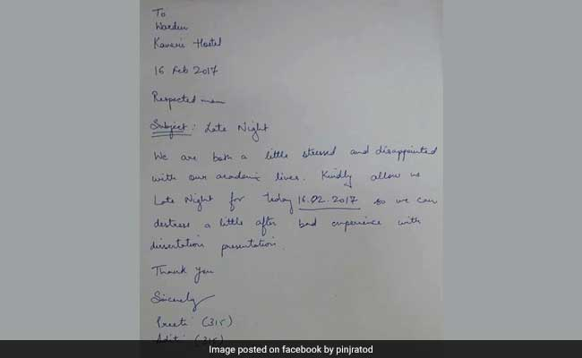 'Kindly Allow Us Late Night,' They Wrote In Hilarious Letter To Warden