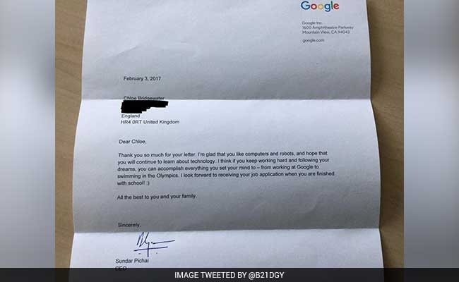 Image result for 7 year old girl writes an adorable job application to Google, gets an amazing reply from CEO Sundar Pichai