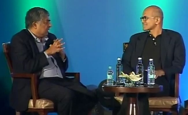 As Tech Titans Meet, Satya Nadella's Qs For Nandan Nilekani