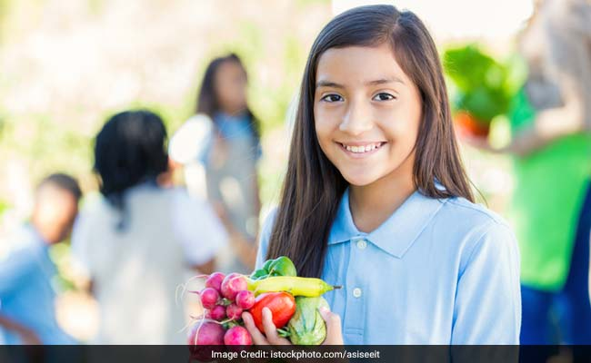 student with healthy food