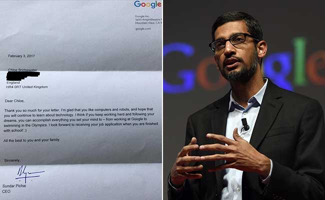 Dear Google Boss,' Writes 7-Year-Old Asking For Job. Sundar Pichai ...