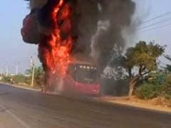 Dramatic Video Of Telangana Bus That Caught Fire. All Passengers Escaped
