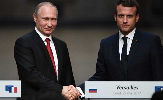 'Your media tried to ruin my election', Emmanuel Macron tells Vladimir Putin