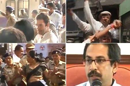 Rahul Gandhi snubs Sena, takes Mumbai local