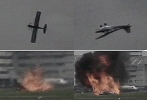 Plane bursts into flames at airshow