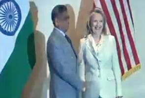 Hillary Clinton meets SM Krishna in New Delhi
