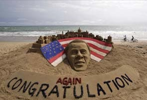 Indian Sand sculpture on Barack Obama's victory