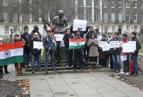 Protest at India embassy, Mahatma Gandhi statue in London after death of medical student