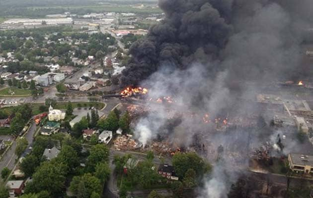 Train carrying crude oil derails in Quebec, causes several explosions