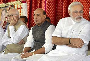Narendra Modi, LK Advani and Rajnath Singh seen together at public meet