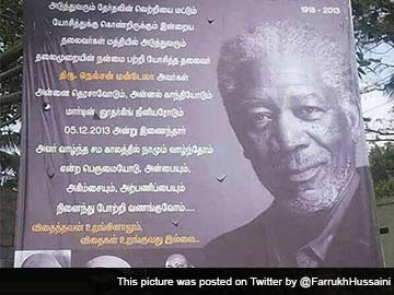 Actor Morgan Freeman mistaken for Nelson Mandela in billboard gaffe