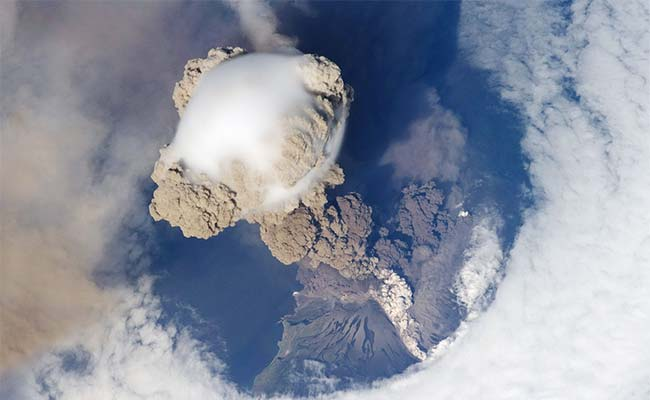 Dazzling volcano eruption in Russia seen from space